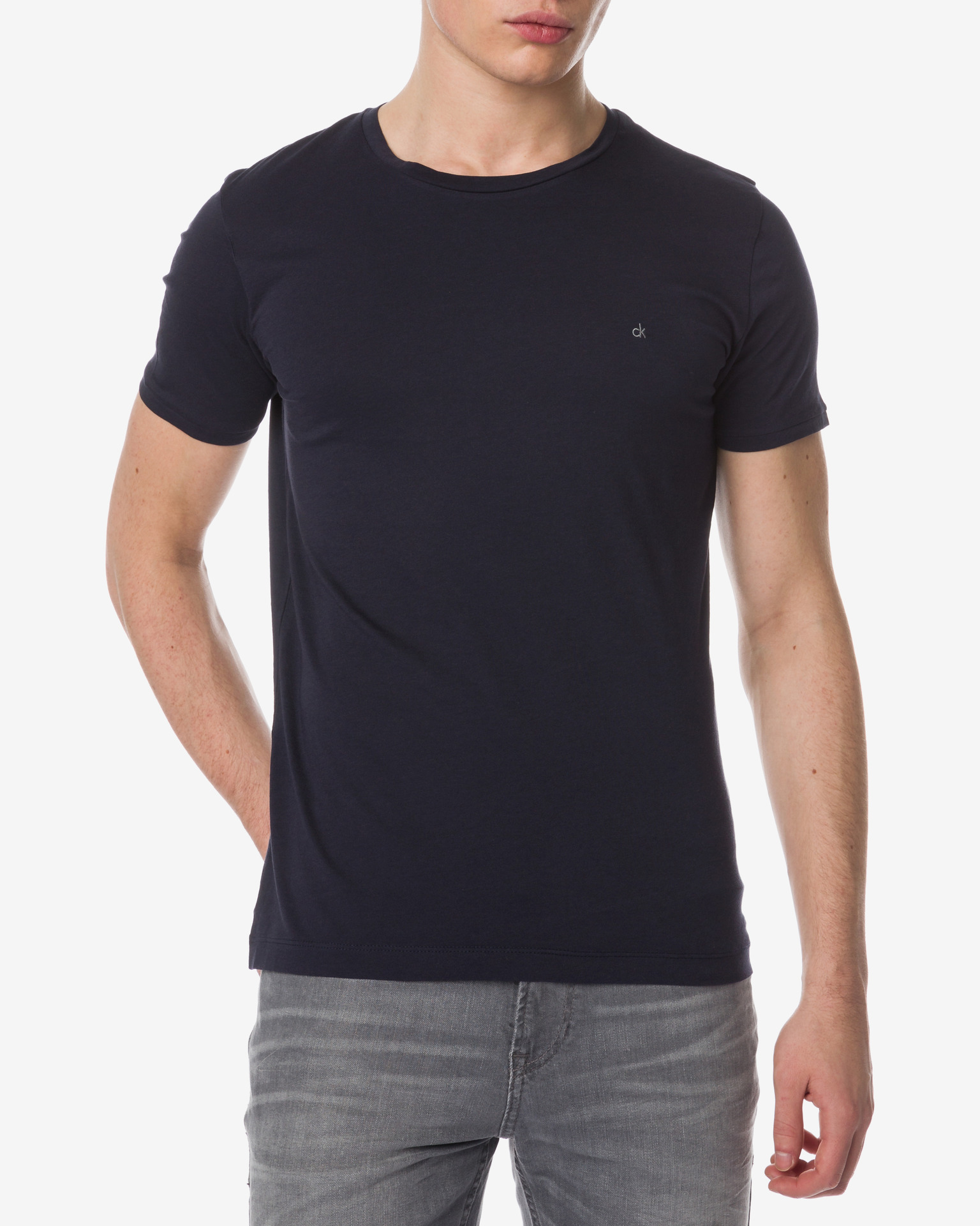 calvin klein t shirt herren regular logo t shirt night sky ck jeans t shirts main image calvin. Black Bedroom Furniture Sets. Home Design Ideas